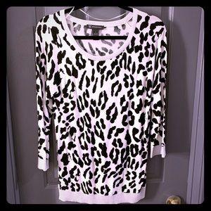 INC International NWT Black White Leopard Sweater